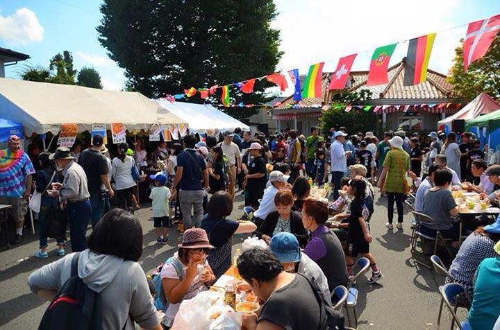 Festival-goers enjoy some tasty food