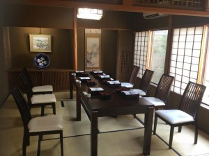 In the restaurant's tatami mat room