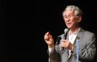 Iwate Prefectural University President Dr. Atsuto Suzuki gives a speech