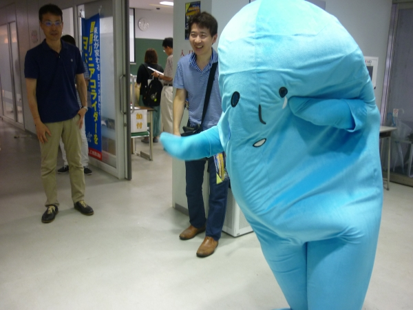 Who can forget Higgs-kun? The Japanese mascot for the ILC greets visitors in the hallway
