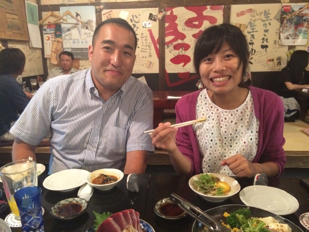 Abe-san (left) and his lovely wife