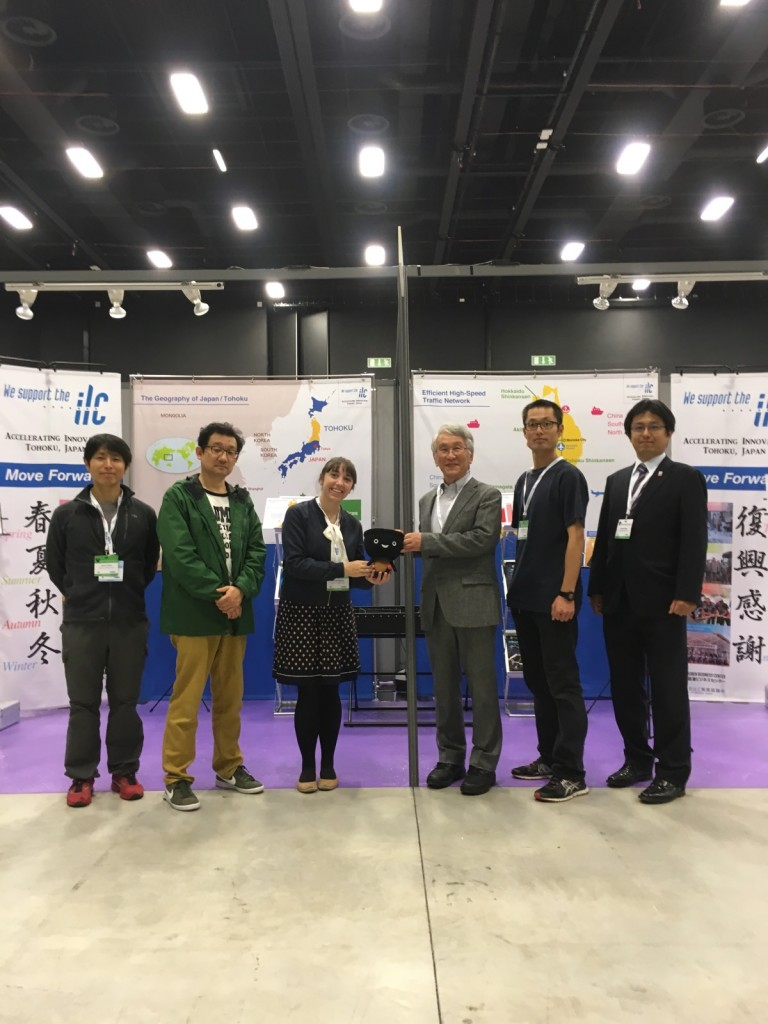 Dr. Atsuto Suzuki, Sobacchi, and the rest of the staff at the Tohoku ILC Promotion Council booth