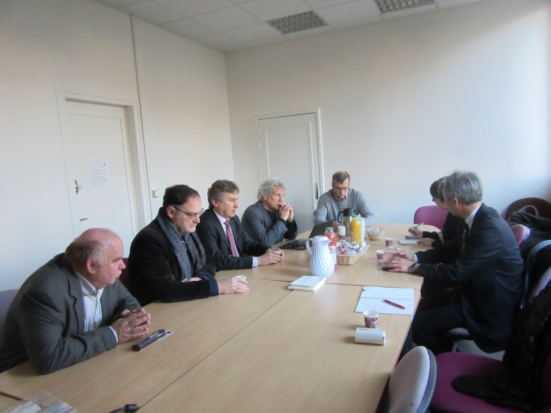 Meeting with officials at CEA Saclay. From left to right: Paul Colas, Nicolas Alamanos, Maxim Titov, Marc Winter, Olivier Napoly, Amanda Wayama, Jun Sasaki